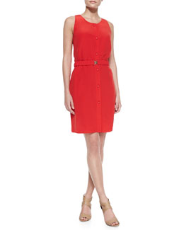 Magaschoni Sleeveless Button-Front Dress