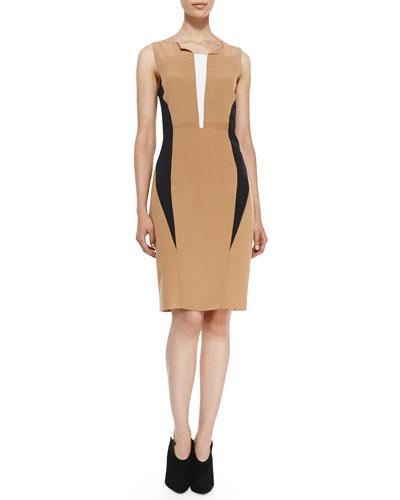 Magaschoni Sleeveless Mock Cutout-Front Dress