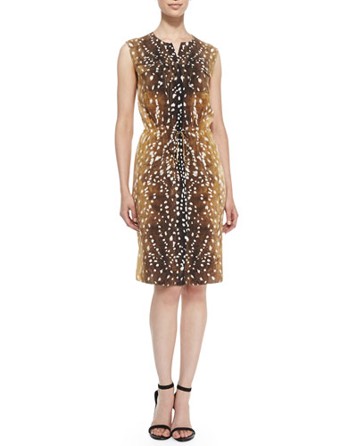 Magaschoni Spotted Deer-Print Drawstring-Waist Dress