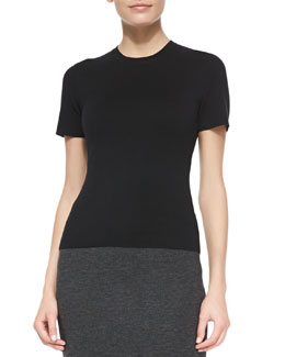 Michael Kors Short-Sleeve Crewneck Tee, Black