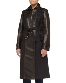 Michael Kors Faux-Leather Contrast Sateen Trench Coat, Black