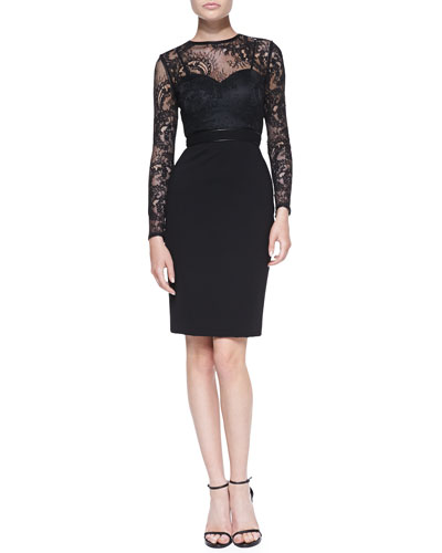 Catherine Deane Vinita Long-Sleeve Lace Cocktail Dress