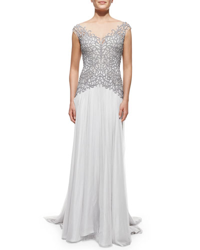 Catherine Deane Cap-Sleeve Beaded-Bodice Gown