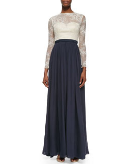 Catherine Deane Vita Long-Sleeve Lace-Bodice Gown