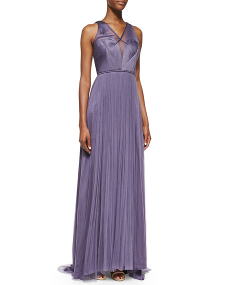 Sleeveless Draped Gown with Shirred Bodice