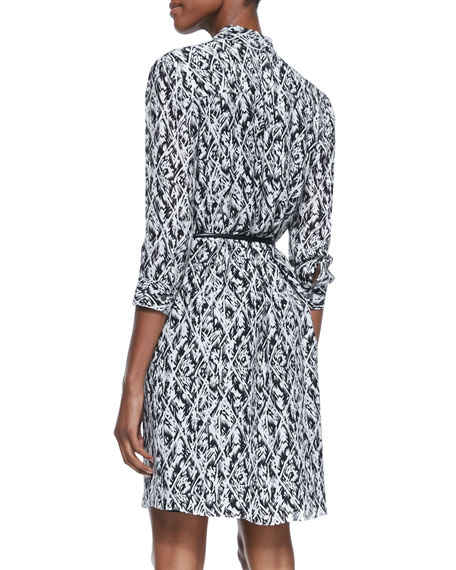 3/4-Sleeve Multi-Print Dress with Skinny Belt
