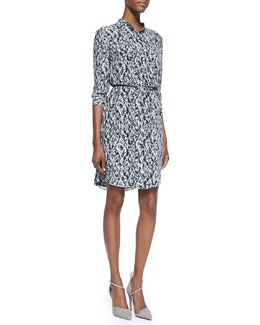 Magaschoni 3/4-Sleeve Multi-Print Dress with Skinny Belt