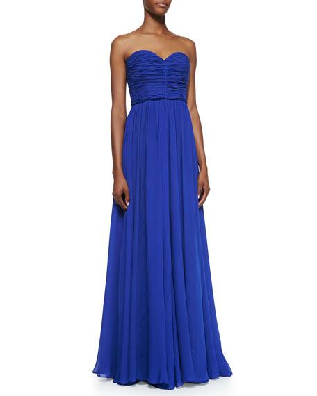 Strapless Silk Chiffon Gown, Sapphire