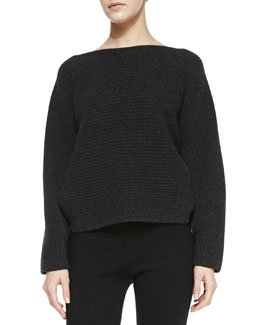 Michael Kors Long-Sleeve Ribbed Cashmere Top