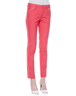 Christopher Blue Lotus Piped Gabardine Isabel Ankle Pants