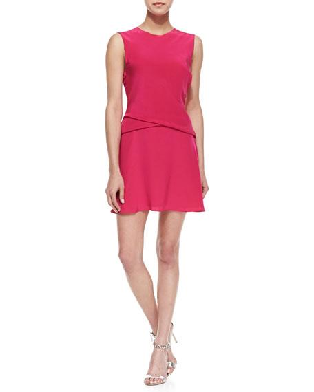 Sleeveless Crisscross Drape Dress, Pink