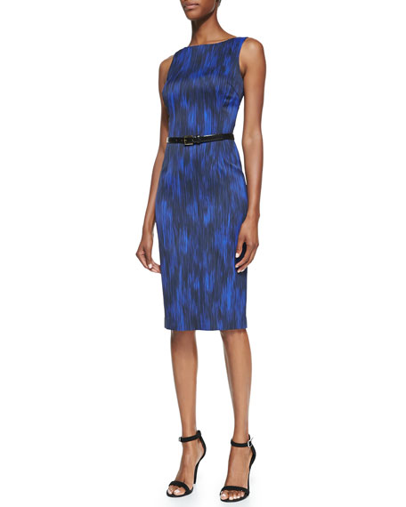 Printed Stretch Sheath Dress with Belt, Sapphire