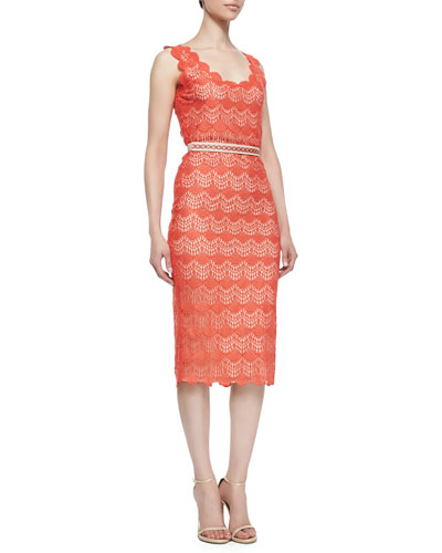 korovilas Belle Scalloped Crochet Pencil Dress