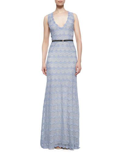 korovilas Noelle Belted Scalloped Crochet Gown