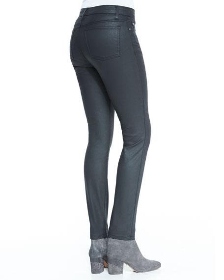 Waxed Stretch Skinny Jeans, Black, Petite
