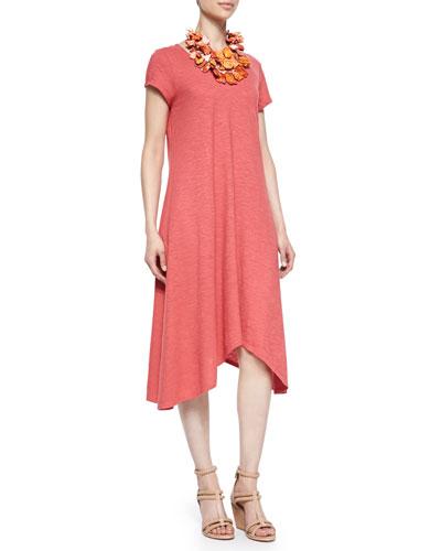 Eileen Fisher Short-Sleeve Handkerchief Jersey Dress, Petite