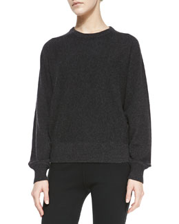 Michael Kors Long-Sleeve Cashmere Pullover Sweater, Charcoal