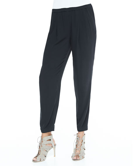 Slouchy Silk Ankle Pants, Black