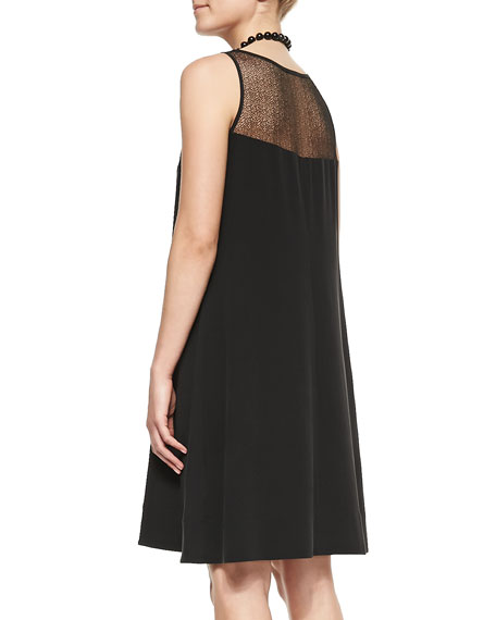 Silk Georgette Lace-Yoke A-line Dress, Petite
