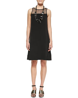 Eileen Fisher Silk Georgette Lace-Yoke A-line Dress, Petite