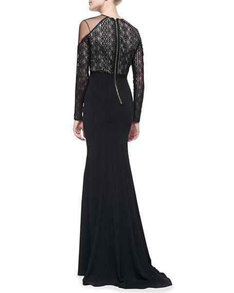 Noire Tulle-Shoulder Gown