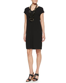 Eileen Fisher V-Neck Cap-Sleeve Shift Dress