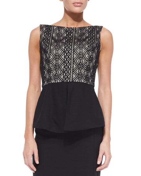 Arden Solid/Lace Peplum Top