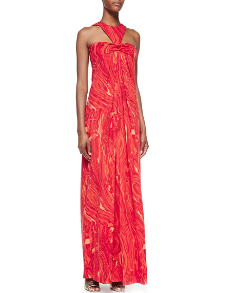 Agate-Print Halter Gown