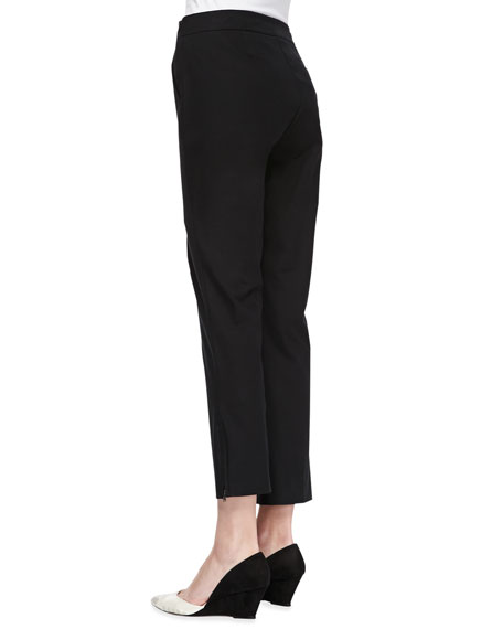 Organic Twill Slim Ankle Pants, Black, Petite