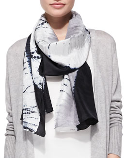 Eileen Fisher Silk Shibori Streams Scarf, Black