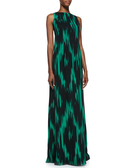 Ikat-Print Sleeveless Gown