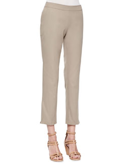 Eileen Fisher Organic Twill Slim Ankle Pants, Stone