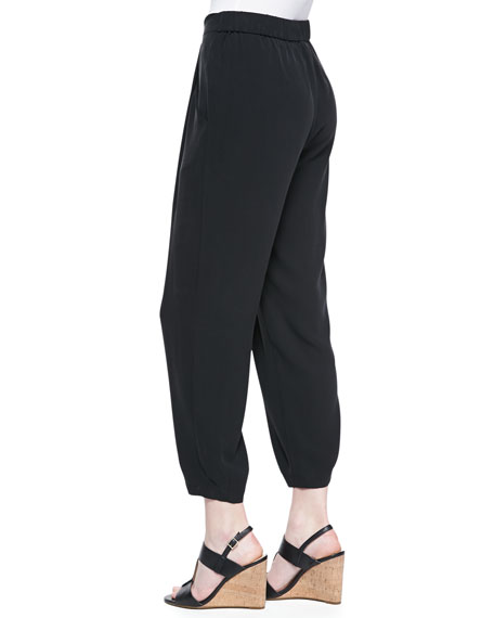 Slouchy Silk Ankle Pants, Petite
