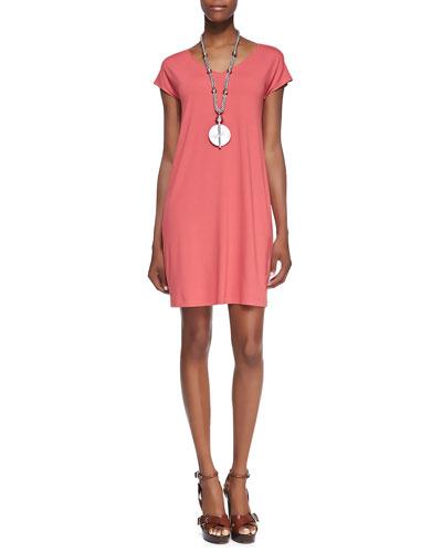 Eileen Fisher V-Neck Cap-Sleeve Shift Dress