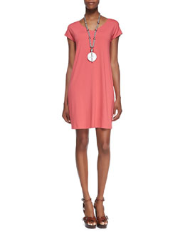 Eileen Fisher V-Neck Cap-Sleeve Shift Dress, Petite