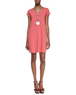 Eileen Fisher V-Neck Cap-Sleeve Shift Dress, Petite