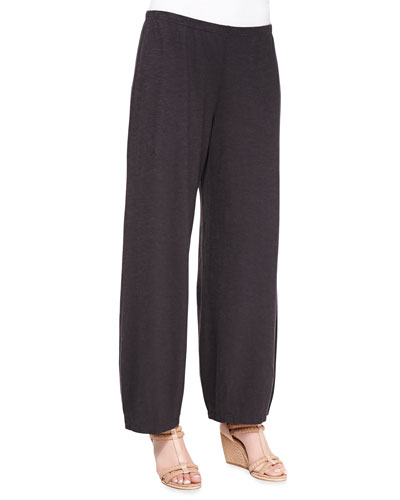 Eileen Fisher Lantern Wide-Leg Ankle Pants, Charcoal
