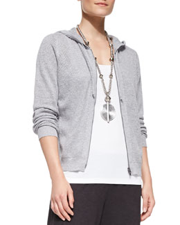 Eileen Fisher Mesh Hooded Zip Cardigan