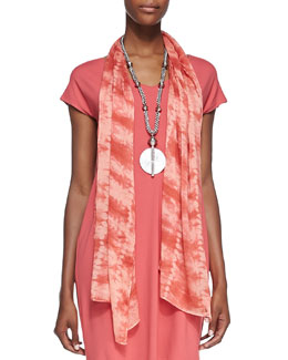 Eileen Fisher Sheer Painterly Shibori Scarf, Sunset
