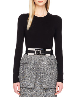 Michael Kors Long-Sleeve Wool-Blend Bodysuit