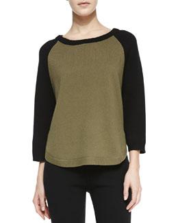 Cashmere-Blend Colorblock Raglan Tunic, Military