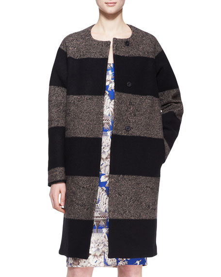 Melange Striped Round-Neck Coat, Black/Camel