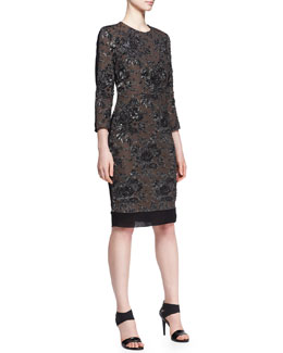 No.21 Floral Jacquard Combo Dress