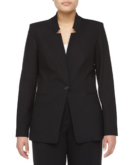 Michael Kors Cutout Lapel Bias-Cut Wool Jacket, Women's