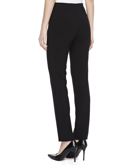 Double-Faced Cropped Wool Pants, Black