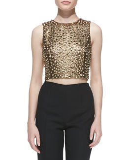 Michael Kors Pebbled & Studded Cropped Shell