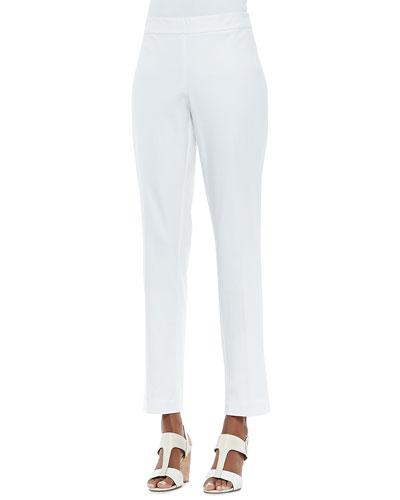 Eileen Fisher Organic Stretch Slim Twill Trousers, White
