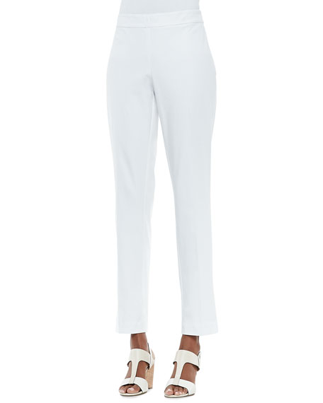 Organic Stretch Slim Twill Trousers, White, Petite
