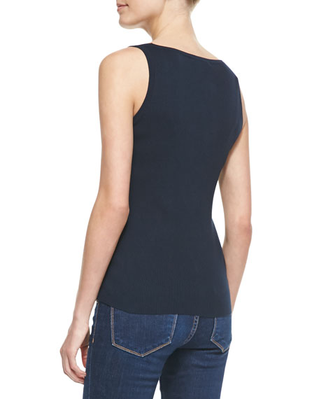 Fine-Gauge Cotton Tank Top, Midnight