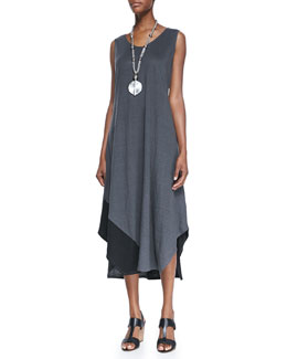 Eileen Fisher Sleeveless Colorblock V-Neck Jersey Dress